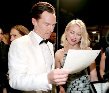 Best Actor nominee Benedict Cumberbatch and Naomi Watts rehearsed their lines backstage before they took to the stage