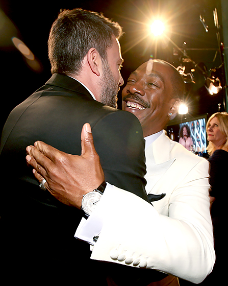 Channing Tatum gave Eddie Murphy a big hug backstage