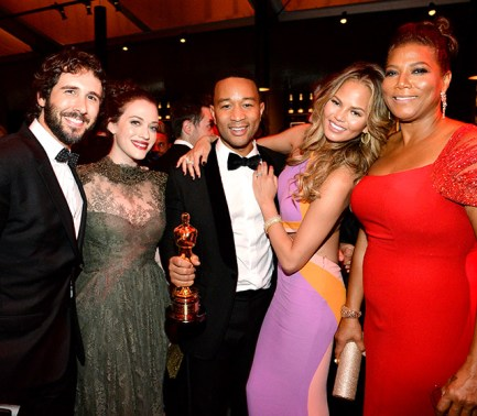 Queen Latifah posed with couples Josh Groban and Kat Dennings and Oscar winner John Legend and his wife Chrissy Teigen at the Vanity Fair event.