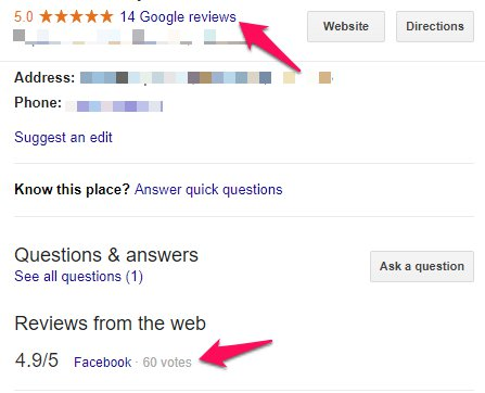 External Reviews shown on Google Reviews