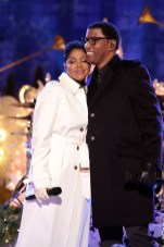 "CHRISTMAS IN ROCKEFELLER CENTER SPECIAL -- Pictured: (l-r) Toni Braxton, Babyface rehearse for ""Christmas in Rockefeller Center"" -- (Photo by: Giovanni Rufino/NBC)"