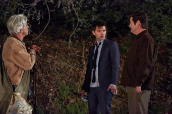 "PARKS AND RECREATION -- ""Flu Season 2"" Episode 619 -- Pictured: (l-r) Sam Elliot as Ron Dunn, Adam Scott as Ben Wyatt, Nick Offerman as Ron Swanson -- (Photo by: Ben Cohen/NBC)"