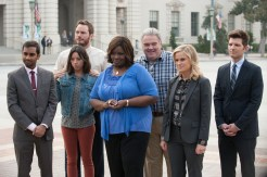 """PARKS AND RECREATION -- """"Moving Up"""" Episode 621/622 -- Pictured: (l-r) Aziz Ansari as Tom Haverford, Aubrey Plaza as April Ludgate, Chris Pratt as Andy Dwyer, Retta as Donna Meagle, Jim O'Heir as Jerry Gergich, Amy Poehler as Leslie Knope, Adam Scott as Ben Wyatt -- (Photo by: Colleen Hayes/NBC)"""