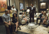 "EMPIRE: Lucious (Terrence Howard) toasts his family in the ""Devil Quotes Scripture"" episode airing Wednesday, Jan. 21 (9:00-10:00 PM ET/PT) on FOX. Pictured L-R: Jussie Smollett, Serayah McNeill, Taraji P. Henson, Bryshere Gray, Grace Gealey, Terrence Howard, Trai Byers and Kaitlin Doubleday.. ©2014 Fox Broadcasting Co. CR: Chuck Hodes/FOX"
