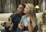 """EMPIRE: Andre (Trai Byers, L) and his wife Rhonda (Kaitlin Doubleday, R) attend a family event in the """"The Devil Quotes Scripture"""" episode airing Wednesday, Jan. 21 (9:00-10:00 PM ET/PT) on FOX. . ©2014 Fox Broadcasting Co. CR: Chuck Hodes/FOX"""