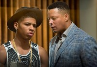"EMPIRE: Lucious (Terrence Howard, R) talks to Hakeem (Bryshere Gray, L) in the ""False Imposition"" episode of EMPIRE airing Wednesday, Jan. 28 (9:00-10:00 PM ET/PT) on FOX. ©2014 Fox Broadcasting Co. CR: Chuck Hodes/FOX"