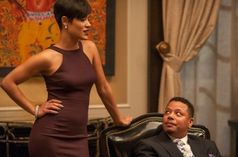 "EMPIRE: Anika (Grace Gealey, L) and Lucious (Terrence Howard, R) have a chat in the ""False Imposition"" episode of EMPIRE airing Wednesday, Jan. 28 (9:00-10:00 PM ET/PT) on FOX. ©2014 Fox Broadcasting Co. CR: Matt Dinnerstein/FOX"