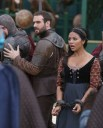 """GALAVANT - """"Death After Brunch"""" - Thinking about being in a relationship, Isabella wants Galavant to try to impress her parents with attentive small talk, but he's confident that breaking everyone out of prison will impress them and save them from certain death. Galavant gets his opportunity for a hero moment when King Richard challenges his brother to a duel and needs a champion to fight for him, on """"Galavant,"""" airing SUNDAY, JANUARY 25 (8:00-8:30 p.m., ET) on the ABC Television Network. (ABC/Nick Ray) JOSHUA SASSE, KAREN DAVID"""