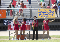 """GLEE: Alumnae's Brittany (Heather Morris, L), Santana (Naya Rivera, C) and Quinn (Dianna Agron, R) return to McKinley High in the second part of the special two-hour """"Loser Like Me/Homecoming"""" Season Premiere episode of GLEE on Friday, Jan. 9 (8:00-10:00 PM ET/PT) on FOX. ©2014 Fox Broadcasting Co. CR: Adam Rose/FOX"""