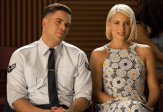 "GLEE: Alumnae's Puck (Mark Salling, L) and Quinn (Dianna Agron, R) return to McKinley High in the second part of the special two-hour ""Loser Like Me/Homecoming"" Season Premiere episode of GLEE on Friday, Jan. 9 (8:00-10:00 PM ET/PT) on FOX. ©2014 Fox Broadcasting Co. CR: Jennifer Clasen/FOX"