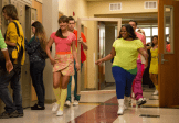 """GLEE: McKinley High alumnae's perform in the second part of the special two-hour """"Loser Like Me/Homecoming"""" Season Premiere episode of GLEE on Friday, Jan. 9 (8:00-10:00 PM ET/PT) on FOX. Pictured L-R: Lea Michele, Chord Overstreet, Amber Riley and Mark Salling. ©2014 Fox Broadcasting Co. CR: Jennifer Clasen/FOX"""