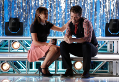 """GLEE: Rachel (Lea Michele, L) seeks advice from Will (Matthew Morrison, R) in the first part of the special two-hour """"Loser Like Me/Homecoming"""" Season Premiere episode of GLEE on Friday, Jan. 9 (8:00-10:00 PM ET/PT) on FOX. ©2014 Fox Broadcasting Co. CR: Tyler Golden/FOX"""