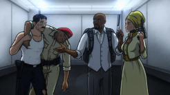 """ARCHER: Episode 2, Season 6 """"Three to Tango"""" (Airing Thursday, January 15, 10:00 PM e/p) An agent from the past has a hand creating tension between Archer and Lana. Pictured: (L, center, R) Sterling Archer (voice of H. Jon Benjamin), Conway Stern (voice of Coby Bell), Lana Kane (voice of Aisha Tyler), Conway Stern (voice of Coby Bell). CR: FX"""