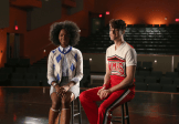 "GLEE: Jane (guest star Samantha Ware, L) and Mason (guest star Billy Lewis Jr., R) perform a song for Glee club in the ""Jagged Little Tapestry"" episode of GLEE airing Friday, Jan. 16 (9:00-10:00 PM ET/PT) on FOX. ©2014 Fox Broadcasting Co. CR: Beth Dubber/FOX"
