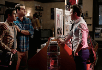 "GLEE: Kurt (Chris Colfer, R) runs into Blaine (Darren Criss, L) and Karofsky (guest star Max Adler, C) in the ""Jagged Little Tapestry"" episode of GLEE airing Friday, Jan. 16 (9:00-10:00 PM ET/PT) on FOX. ©2014 Fox Broadcasting Co. CR: Tyler Golden/FOX"