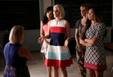 """GLEE: L-R: Becky (Lauren Potter) is confronted by Santana (Naya Rivera), Quinn (Dianna Agron), Brittany (Heather Morris) and Tina (Jenna Ushkowitz) in the """"Jagged Little Tapestry"""" episode of GLEE airing Friday, Jan. 16 (9:00-10:00 PM ET/PT) on FOX. ©2014 Fox Broadcasting Co. CR: Tyler Golden/FOX"""