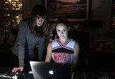 "GLEE: Kitty (Becca Tobin, R) helps Rachel (Lea Michele, L) find the perfect set list to win in the ""The Hurt Locker, Part Two"" episode of GLEE airing Friday, Jan. 30 (9:00-10:00 PM ET/PT) on FOX. ©2014 Fox Broadcasting Co. CR: Beth Dubber/FOX"