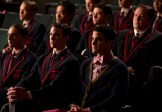 """GLEE: Blaine (Darren Criss, R) and his team watch the New Directions perform in the """"The Hurt Locker, Part Two"""" episode of GLEE airing Friday, Jan. 30 (9:00-10:00 PM ET/PT) on FOX. ©2014 Fox Broadcasting Co. CR: Jennifer Clasen/FOX"""