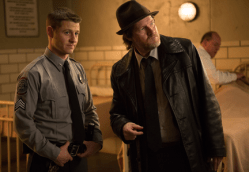"GOTHAM: Detective Harvey Bullock (Donal Logue, R) pays James Gordon (Ben McKenzie, L) a visit at Arkham Asylum in the ""Rogues' Gallery"" episode of GOTHAM airing Monday, Jan. 5 (8:00-9:00 PM ET/PT) on FOX. ©2014 Fox Broadcasting Co. Cr: Jessica Miglio/FOX"