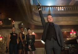 """GOTHAM: Victor Zsasz (guest star Anthony Carrigan, R) pays a visit to Fish Mooney's night-club in the """"Welcome Back, Jim Gordon"""" episode of GOTHAM airing Monday, Jan. 26 (8:00-9:00 PM ET/PT) on FOX. ©2015 Fox Broadcasting Co. Cr: Jessica Miglio/FOX"""