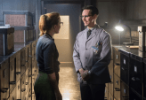 "GOTHAM: Edward Nygma (Cory Michael Smith, R) flirts with co-worker Kristin Kringle (guest star Chelsea Spack, L) in the ""What The Little Bird Told Him"" episode of GOTHAM airing Monday, Jan. 19 (8:00-9:00 PM ET/PT) on FOX. ©2014 Fox Broadcasting Co. Cr: Jeff Neumann/FOX"