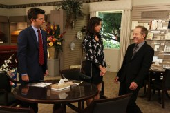 """PARKS AND RECREATION -- """"Ron & Jammy"""" Episode 702 -- Pictured: (l-r) Adam Scott as Ben Wyatt, Aubrey Plaza as April Ludgate, Jeff Harlan as Dan Candle -- (Photo by: Byron Cohen/NBC)"""