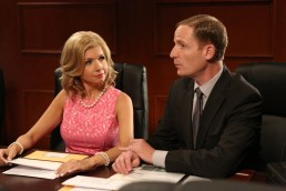 "PARKS AND RECREATION -- ""2017"" Episode 701 -- Pictured: (l-r) Susan Yeagley as Jessica Wicks, Marc Evan Jackson as Trevor Nelson -- (Photo by: Danny Feld/NBC)"