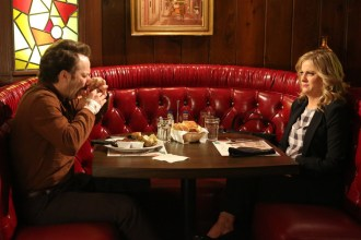 "PARKS AND RECREATION -- ""Ron and Jammy"" Episode 702 -- Pictured: (l-r) Jon Glaser as Councilman Jamm, Amy Poehler as Amy Poehler -- (Photo by: Danny Feld/NBC)"