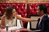 """PARKS AND RECREATION -- """"Ron and Jammy"""" Episode 702 -- Pictured: (l-r) Natalie Morales as Lucy, Aziz Ansari as Tom Haverford -- (Photo by: Ben Cohen/NBC)"""