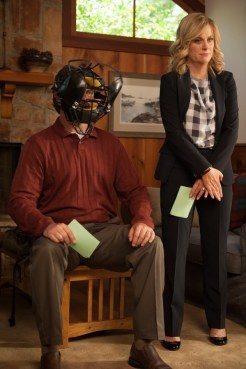 "PARKS AND RECREATION -- ""Ron and Jammy"" Episode 702 -- Pictured: (l-r) Nick Offerman as Ron Swanson, Amy Poehler as Leslie Knope -- (Photo by: Colleen Hayes/NBC)"