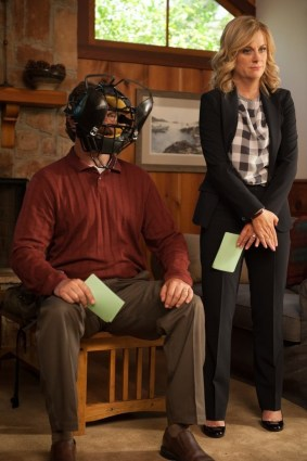 """PARKS AND RECREATION -- """"Ron and Jammy"""" Episode 702 -- Pictured: (l-r) Nick Offerman as Ron Swanson, Amy Poehler as Leslie Knope -- (Photo by: Colleen Hayes/NBC)"""