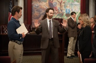"PARKS AND RECREATION -- ""Ron and Jammy"" Episode 702 -- Pictured: (l-r) Nick Offerman as Ron Swanson, Jon Glaser as Councilman Jamm, Amy Poehler as Leslie Knope -- (Photo by: Colleen Hayes/NBC)"
