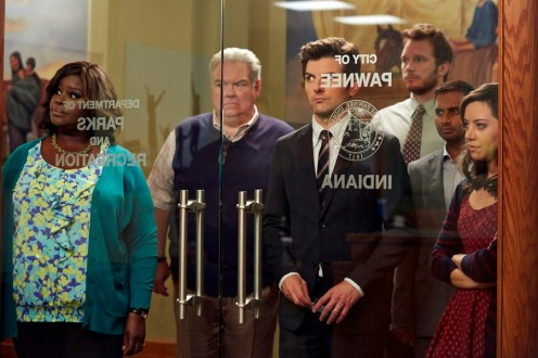 "PARKS AND RECREATION -- ""Funkin' Gonuts"" Episode 704 -- Pictured: (l-r) Retta as Donna Meagle, Jim O'Heir as Jerry Gergich, Adam Scott as Ben Wyatt, Chris Pratt as Andy Dwyer, Aziz Ansari as Tom Haverford, Aubrey Plaza as April Ludgate -- (Photo by: Ben Cohen/NBC)"