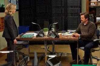 """PARKS AND RECREATION -- """"Funkin' Gonuts"""" Episode 704 -- Pictured: (l-r) Amy Poehler as Leslie Knope, Nick Offerman as Ron Swanson -- (Photo by: Ben Cohen/NBC)"""