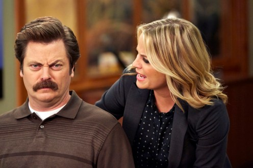 """PARKS AND RECREATION -- """"Funkin' Gonuts"""" Episode 704 -- Pictured: (l-r) Nick Offerman as Ron Swanson, Amy Poehler as Leslie Knope -- (Photo by: Ben Cohen/NBC)"""
