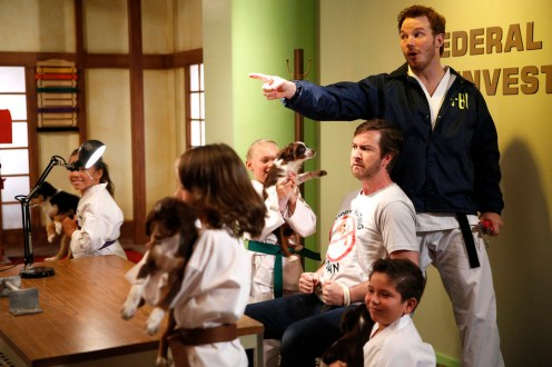 """PARKS AND RECREATION -- """"William Henry Harrison"""" Episode 705 -- Pictured: (l-r) Andrew Burlinson as Burly Burlinson, Chris Pratt as Andy Dwyer -- (Photo by: Greg Gayne/NBC)"""