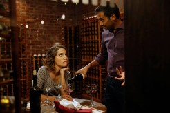 "PARKS AND RECREATION -- ""William Henry Harrison"" Episode 705 -- Pictured: (l-r) Natalie Morales as Lucy, Aziz Ansari as Tom Haverford -- (Photo by: Greg Gayne/NBC)"