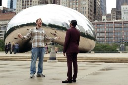 """PARKS AND RECREATION -- """"Ron and Jammy"""" Episode 702 -- Pictured: (l-r) Chris Pratt as Andy Dwyer, Aziz Ansari as Tom Haverford -- (Photo by: Elizabeth Morris/NBC)"""