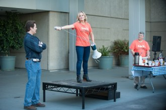 """PARKS AND RECREATION -- """"Save JJ's"""" Episode 707 -- Pictured: (l-r) Nick Offerman as Ron Swanson, Amy Poehler as Leslie Knope, Brent Briscoe as JJ -- (Photo by: Colleen Hayes/NBC)"""