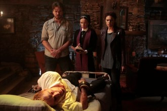 """CONSTANTINE -- """"The Saint of Last Resorts: Part Two"""" Episode 109 -- Pictured: (l-r) Matt Ryan as John Constantine, Charles Halford as Chas, Claire van der Boom as Anne Marie, Anjelica Celaya as Zed -- (Photo by: Dan McFadden/NBC)"""