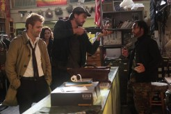 """CONSTANTINE -- """"Quid Pro Quo"""" Episode 110 -- Pictured: (l-r) Matt Ryan as Constantine, Anjelica Celaya as Zed, Charles Halford as Chas, Roger Floyd as Fennel -- (Photo by: Annette Brown/NBC)"""