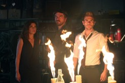"""CONSTANTINE -- """"Quid Pro Quo"""" Episode 110 -- Pictured: (l-r) Anjelica Celaya as Zed, Charles Halford as Chas, Matt Ryan as Constantine -- (Photo by: Annette Brown/NBC)"""