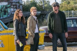 """CONSTANTINE -- """"Quid Pro Quo"""" Episode 110 -- Pictured: (l-r) (l-r) Anjelica Celaya as Zed, Matt Ryan as Constantine, Charles Halford as Chas -- (Photo by: Tina Rowden/NBC)"""