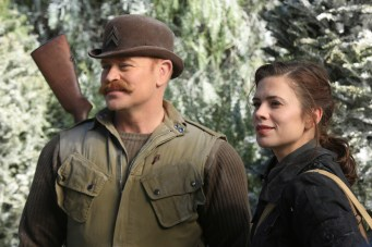 """MARVEL'S AGENT CARTER - """"The Iron Ceiling"""" - Peggy is finally trusted with a mission and calls upon her trusted Howling Commandos squad for backup. But her cover could be at risk when SSR Chief Dooley also sends Agent Thompson with her, on """"Marvel's Agent Carter,"""" TUESDAY, FEBRUARY 3 (9:00-10:00 p.m., ET) on the ABC Television Network. (ABC/Matt Kennedy) NEAL MCDONOUGH, HAYLEY ATWELL"""