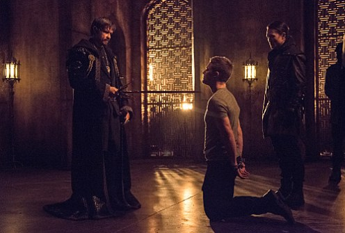 "Arrow -- ""Nanda Parbat"" -- Image AR315B_0129b -- Pictured (L-R): Matt Nable as Ra's al Ghul and Stephen Amell as Oliver Queen -- Photo: Cate Cameron/The CW -- © 2015 The CW Network, LLC. All Rights Reserved."