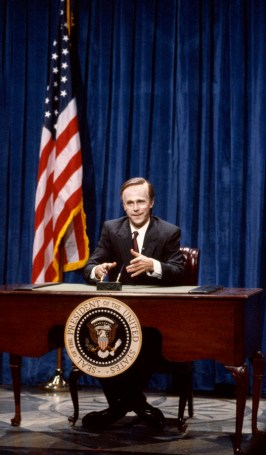 SNL 40TH ANNIVERSARY SPECIAL -- Season 15, Episode 13 -- Pictured: Dana Carvey as George Bush on February 17, 1990 -- (Photo by: Alan Singer/NBC)
