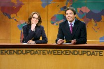 """SNL 40TH ANNIVERSARY SPECIAL -- Season 28, Episode 20 -- Pictured: (l-r) Tina Fey, Jimmy Fallon during """"Weekend Update"""" on May 10, 2003 -- (Photo by: Mary Ellen Matthews/NBC)"""