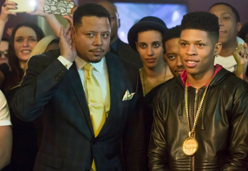 """EMPIRE: Lucious (Terrence Howard, L) and Hakeem (Bryshere Gray, R) watch a performance in the special two-hour """"Die But Once/Who I Am"""" Season Finale episode of EMPIRE airing Wednesday, March 18 (8:00-10:00 PM ET/PT) on FOX. CR: Chuck Hodes/FOX"""