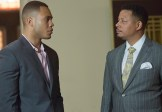 "EMPIRE: Lucious (Terrence Howard, R) and Andre (Trai Byers, L) chat in the special two-hour ""Die But Once/Who I Am"" Season Finale episode of EMPIRE airing Wednesday, March 18 (8:00-10:00 PM ET/PT) on FOX. CR: Chuck Hodes/FOX"