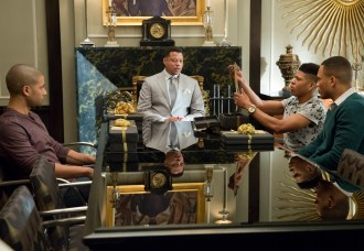 "EMPIRE: Lucious (Terrence Howard, second from L) gifts his sons in the special two-hour ""Die But Once/Who I Am"" Season Finale episode of EMPIRE airing Wednesday, March 18 (8:00-10:00 PM ET/PT) on FOX. Also pictured L-R: Jussie Smollett, Bryshere Gray and Trai Byers. CR: Chuck Hodes/FOX"